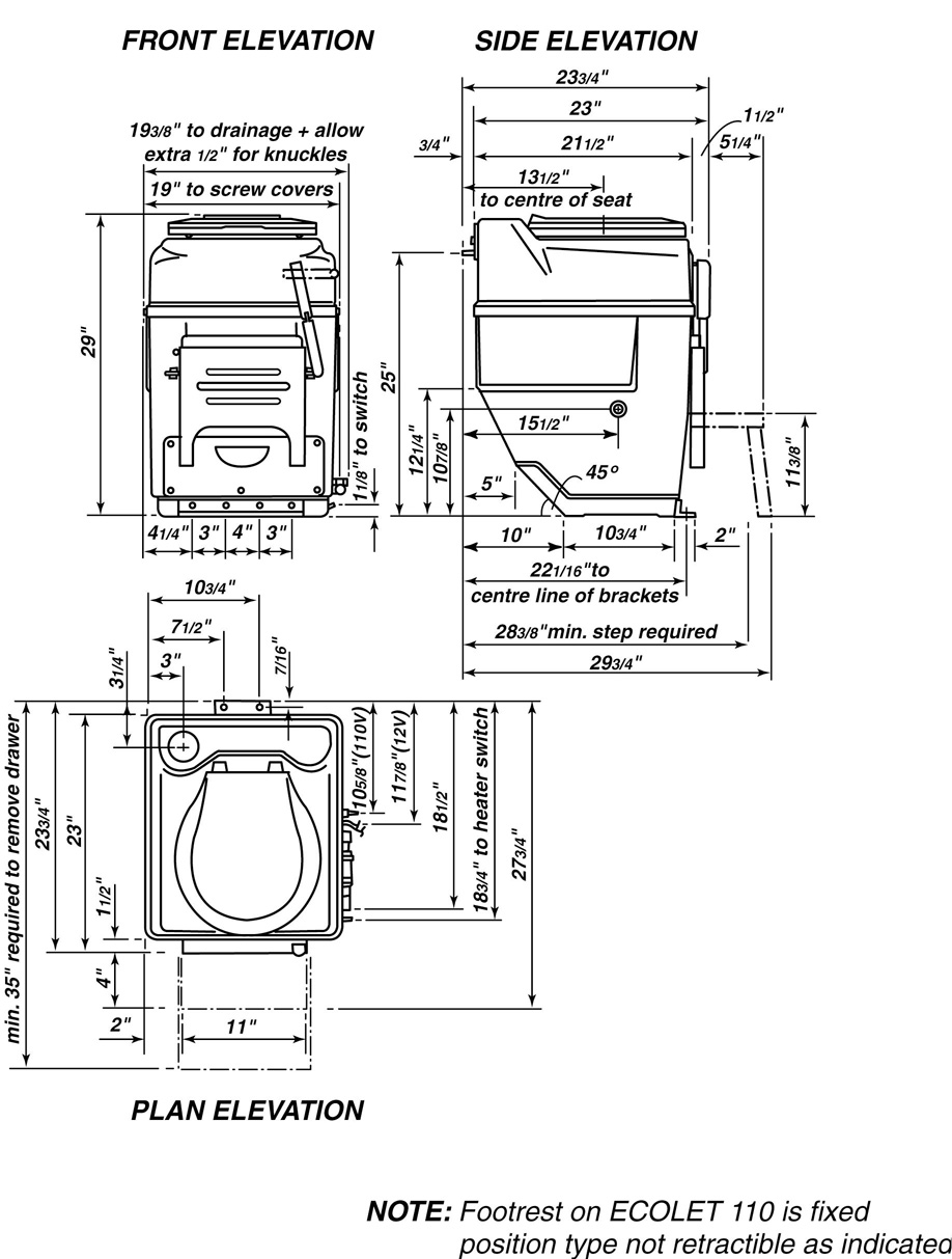 Rough In Dimensions Self Contained Composting Toilets